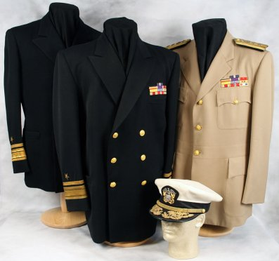 Post-World War II Khaki uniform jacketm dress blues and combination cover, worn by Navy Cross recipient, Admiral Robert Copeland (image source: ForValor.com/Dave Schwind)