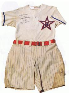 Hollywood Stars 1950 uniform. Note satin belt.