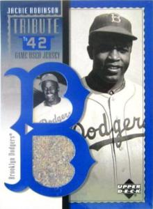 Upper Deck carved up a road jersey worn by Hall of Fame player, Jackie Robinson.
