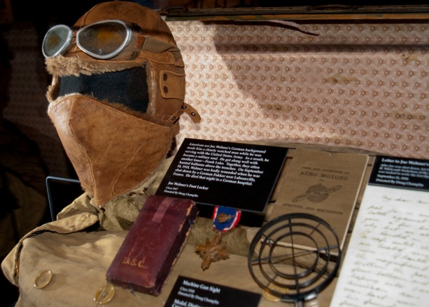 WWI Ace Joe Wehner's Distinguished Service Cross medal, helmet, Goggles and face mask situated at the Museum of Flight in Seattle.