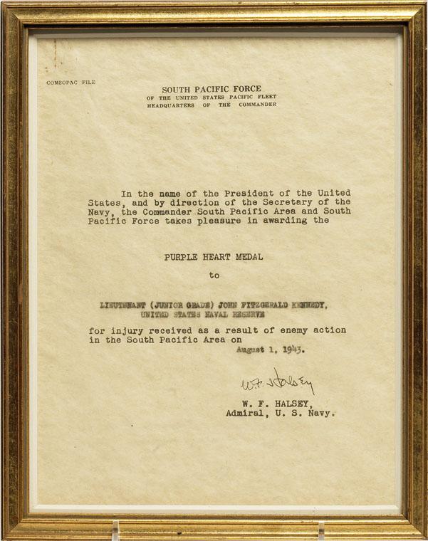 The citation that accompanied LTJG John F. Kennedy's Purple Heart Medal (source: JFK Library).