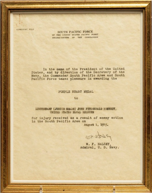 The citation that accompanied LTJG John F. Kennedy's Purple Heart Medal (source: JFK Library).