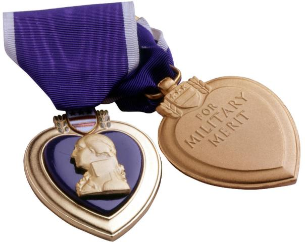 """The Purple Heart Medal has been awarded since 1932 to veterans who were wounded or killed in action in WWI through the current conflicts. Showing the reverse of the PHM with the words, """"For Military Merit"""" and the space beneath where it is traditionally engraved."""
