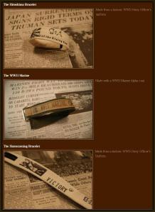 This screen capture shows bracelets were made from uniforms donated by the National World War II Museum. (Source: BandsforArms.com)
