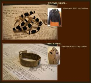 Displayed in this screen capture are two bracelets and the uniforms that were destroyed to make them. (Source: BandsforArms.com)