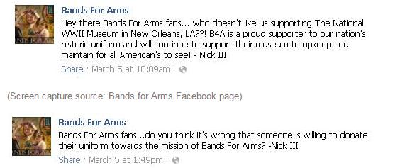 (Screen capture source: Bands for Arms Facebook page)
