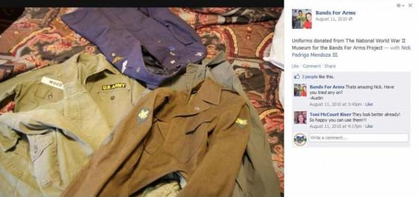 Shown here on an older Facebook post on the Bands for Arms page, references to the uniform donation by the National World War II Museum. These posts were subsequently removed.