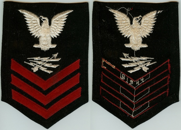 "This Radarman first class rating badge is date-marked with ""1944"" embroidered on the reverse of the first chevron."