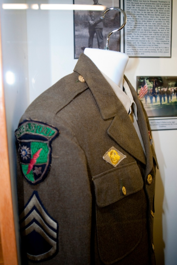 This WWII army veteran's uniform sports a right-shoulder SSI of the 5307th Composite Unit (also known as Merrill's Marauders).