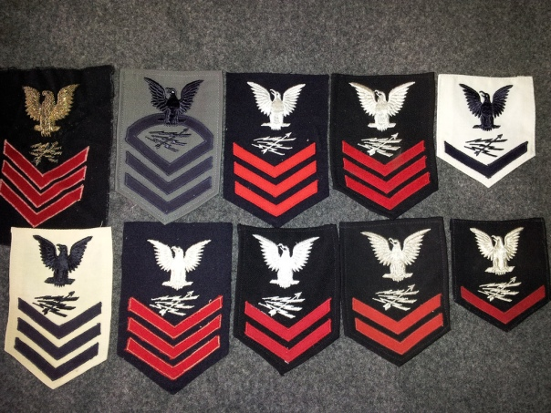 A selection of my Radarman rating badges. All are from during and immediately following the end of WWII.