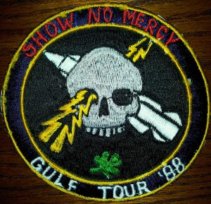 During one of my deployments, I had this patch made in the Philippines to commemorate our tour to the Persian Gulf. The embroidery was done with a machine that was free-hand (rather than computer-controlled) leaving a more rudimentary interpretation of my design.