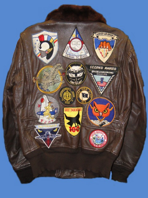 Patched naval aviator jackets were quite popular in the 1960s and again in the '80s. Many aviation squadron detachments had patches custom-made to denote their deployment and the ship they were attached to.