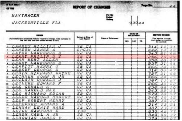Ancestry Search - This muster sheet clearly shows Philip D S Leahy as a seaman second class being transferred from the Naval Training Center, Jacksonville, FL to the Naval Air Technical Training Command in Memphis, TN.