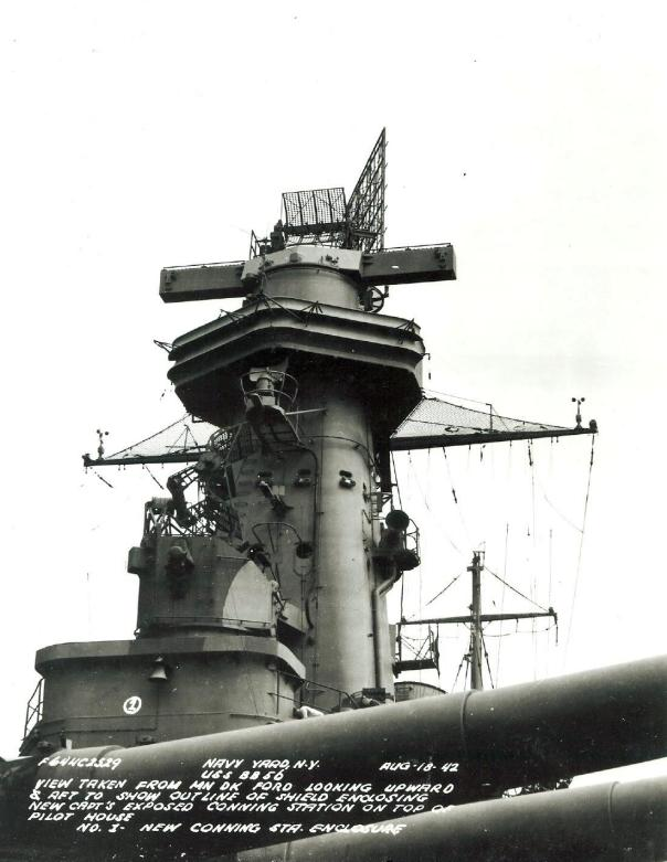 The foremast of the USS Washington (BB-56) showing the SG radar antennae on the foreward face of the tower. As documented in Muscant's book, the placement of this unit was cause for a significant sector blindspot, leaving the ship vulnerable during the first Naval Battle of Guadalcanal in November of 1942 (U.S. Navy image).