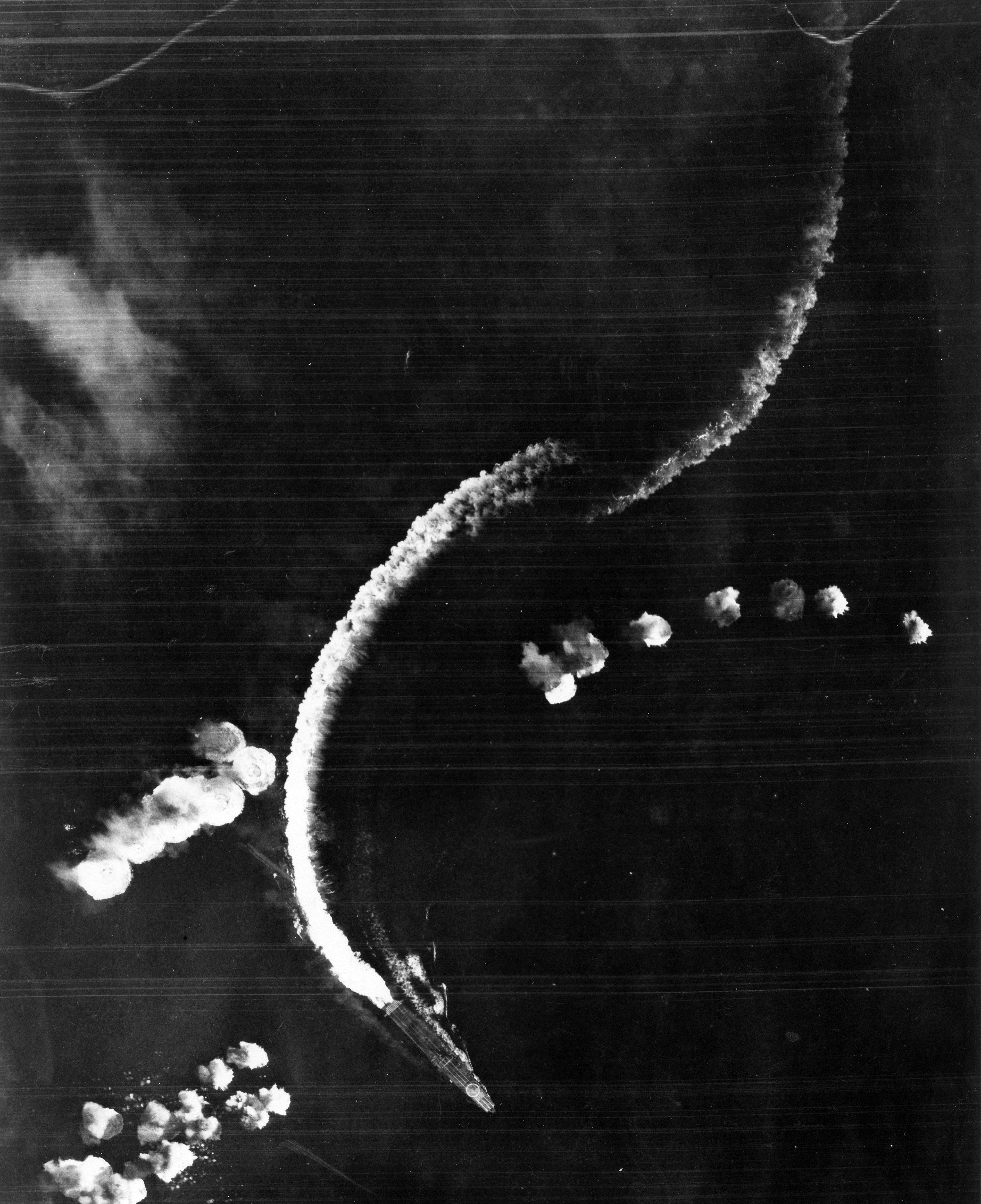Here The Japanese Carrier Hiryu Dodges Bombs Dropped From Midway Based B 17 Bombers