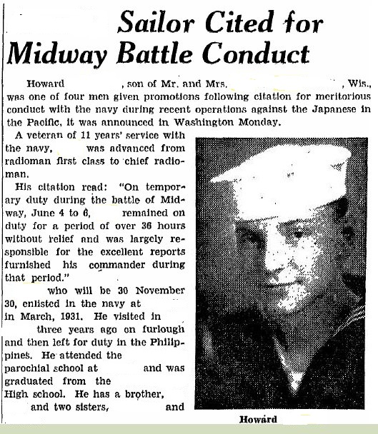 News clipping citing my uncle's meritorious promotion (one of four sailors advanced for actions during the Midway battle) by Admiral Spruance .