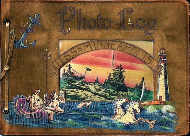 Owning a sailor's photos may seem odd to some, but they could be one-of-a-kind images that you otherwise might not see. This hand-painted USS Minneapolis photo album is a fine example (source: eBay image).