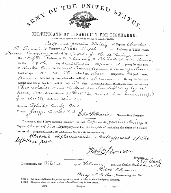 The scan of my 3x great grandfather's Civil War discharge document showing his service and his wound.