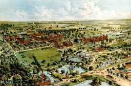 This hand-tinted postcard image depicts the Dayton Soldier's Home campus as it appeared in 1898 (source: Carolyn Johnson Burns).