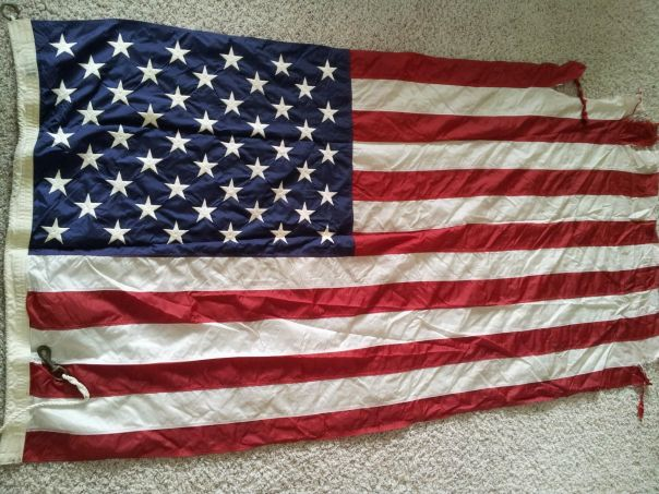I obtained this flag from the ship's navigator a few years ago. The flag was presented to him by the chief signalman upon detaching from the ship, bound for a new command.