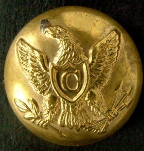 "While this cavalry button (as distinguished by the ""C"" on the eagle's shield) may be accurate for a cavalryman, it isn't appropriate for my ancestor's display as he was a corporal. I am still researching the proper buttons for display to confirm my suspicions, but I may be faced with purchasing the extremely rare Pennsylvania-specific buttons – as Rush's Lancers were not a mainline Union Army regiment."