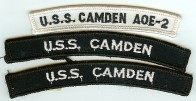 The two blue UIM patches shown are authorized by Navy uniform regulations. The white patch on top is a manufacturing mistake and unauthorized for wear on a Navy uniform. The USS Camden was decommissioned in 2005.