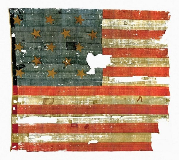 Documenting the Star Spangled Banner: Because of its size and the confined space of the lab, the flag could not be photographed as a whole. This is a composite of seventy-three separate images (source: Smithsonian Institute).