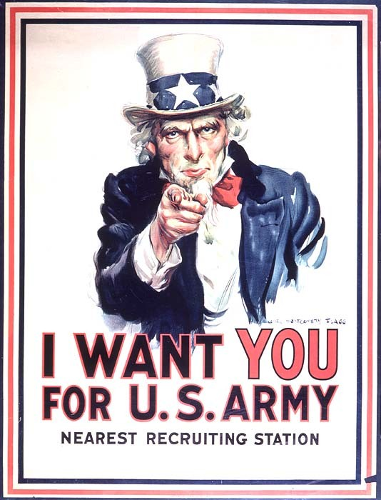 Originally created for Ladies Weekly in 1916, the iconic image of Uncle Sam was incorporated into what is probably the single, most popular recruiting poster that began its run during WWI (source: Library of Congress).