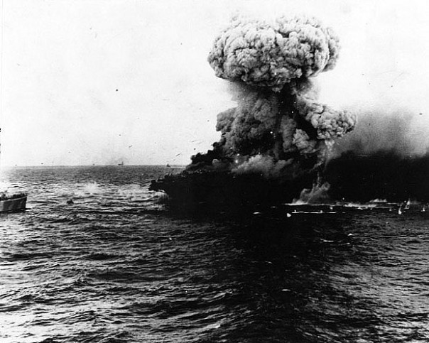 The Lady Lex is rocked by an enormous explosion during the Coral Sea battle, May 8, 1942 (Photo: Naval Historical Center).