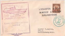 This 1934 postal cover commemorates the Lexington's East Coast cruise of 1934 (photo: eBay).