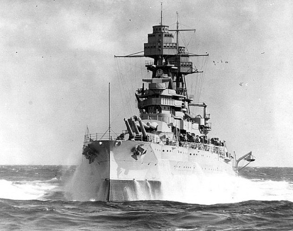 The USS Arizona's bow pitches upward on the high seas sometime in the late 1930s (source: U.S. Navy Naval History and Heritage Command).