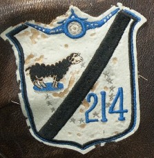 "This authentic VMF-214 squadron patch dates from WWII and is most-likely Australian-made. This ""Blacksheep"" patch is affixed to the G-1 flight jacket that belonged to the Marine pilot, Fred Losch."