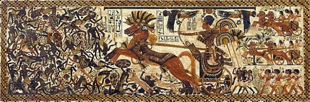 This illustration from Tut's tomb shows the young pharaoh at war in his chariot (source: Araldo De Luca).