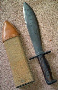 The scabbard and blade of the M1910 bolo.