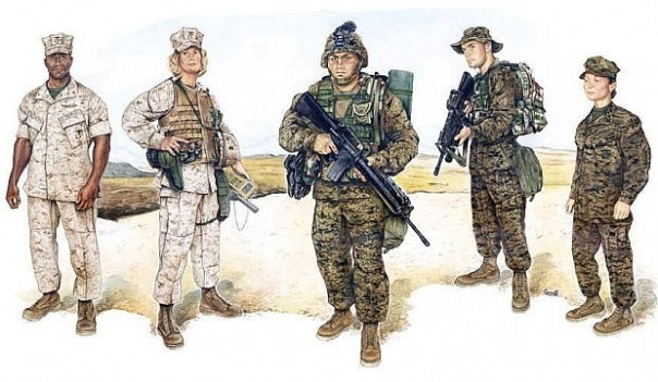 "The first of the U.S. Armed Forces to employ digital camouflage, the USMC was able to demonstrate successful concealment of their ranks in all combat theaters. Shown are the two variations, ""Desert"" on the left and ""Woodland"" on the right."