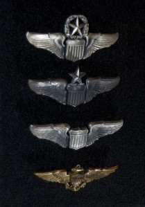 "From the top: Command Pilot, Senior Pilot and Pilot of the US Army Air Force. The naval aviator ""wings of gold"" are really set apart from its USAAF counterparts."