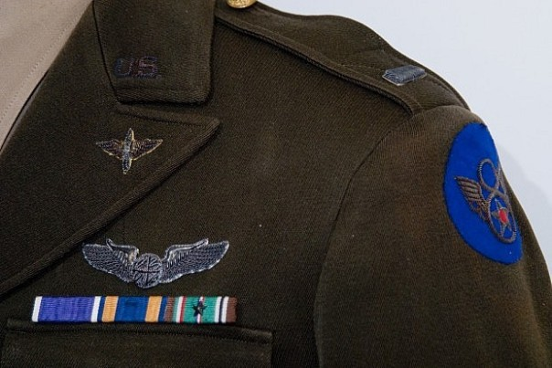 This stunning 8th Air Force 2nd Lieutenant's uniform has a beautiful example of a silver bullion wing. In fact, all of the (typically metal) devices are made from silver bullion thread.