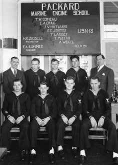 This graduation photo of Class USN-18 shows the two front-row enlisted sailors (on each end) wearing the PT boat patch on their left forearms (image source: (image source: pt-king.gdinc.com),